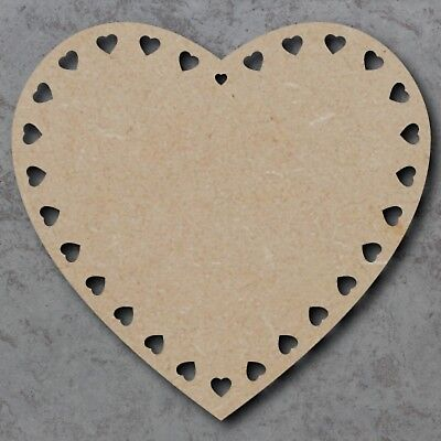 Large 20cm MDF Wooden Heart with Mini Hearts Blank Craft Shape Plaque Unpainted
