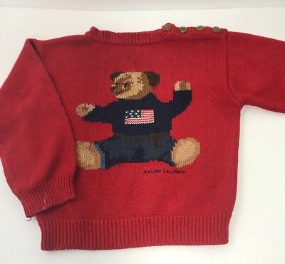 VTG Polo Jeans CO Ralph Lauren RARE Teddi Bear Sitting Flag Red Sweater Size 3T