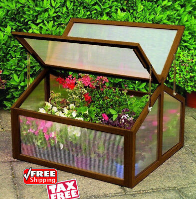 Wooden Cold Frame Greenhouse Mini Portable Raised Flower Plants Protection Cover