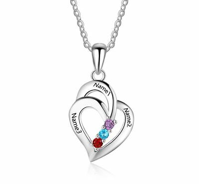b4d44863bc Personalized Sterling Silver3 Stone 3 Engraved Name Family Mother's Necklace
