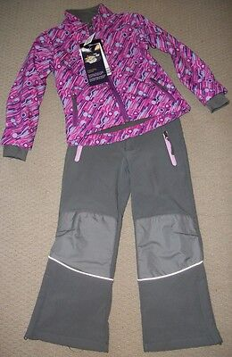 Bnwt Girls' Pink & Grey Soft Shell Ski Suit Size 8 Years