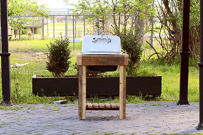 Reclaimed Wood Utility Farm Sink Stand Cast Iron Porcelain High Back Pckage Blue