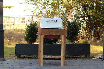 Reclaimed Wood Utility Farm Sink Stand Cast Iron Porcelain High Back Sink Red