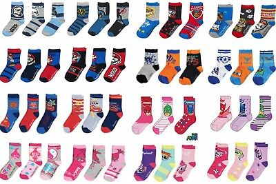 NEW BOYS GIRLS 3 PACK PAIRS OF SOCKS MIXED DESIGNS 3-5-6-8-9-12-3 SHOE SIZE