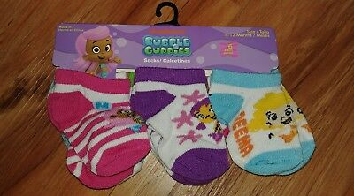 6 pairs Bubble Guppies Baby girl Infant Socks 6-12 months