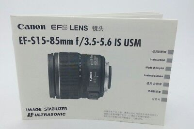 Canon EFS EF-S 15-85mm f/3.5-5.6 IS USM LENS Instruction Manuals as new