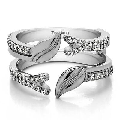 Sterling Silver Open Ended Double Leaf Wedding Ring Guard (0.33tw)
