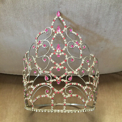 """Vintage Child Beauty Pageant Crown Tiara Pink 8.25"""" Tall"""
