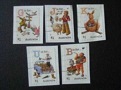 2017 - Fair Dinkum Aussie Series III - Used Set of 5 x $1 stamps - S/A on Paper