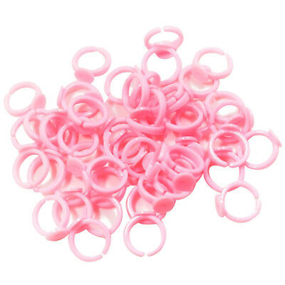 50pcs Pink Plastic Adjustable Kids Ring Blank Jewelry Findings GLUE ON Base
