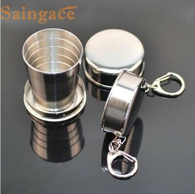 High Quality Collapsible Stainless Steel Shot Glass Key Ring