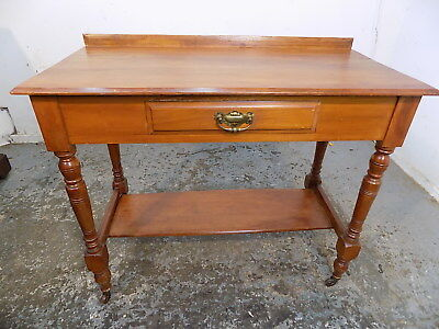 small,antique,edwardian,walnut,console table,desk,drawer,hall,table,turned legs