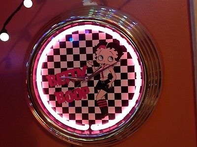 "2007 Betty Boop Pink Neon 14"" Retro Lighted Wall Clock"