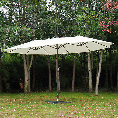 Outsunny 4.6M Double-Sided Patio Umbrella Garden Parasol Market Canopy Crank