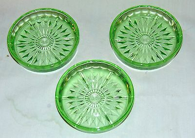 "3 Jeannette WINDSOR GREEN * 3 1/4"" COASTERS*"