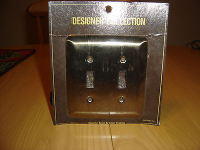 Antique Brass Stamped Metal Doubl Light Switch Plate Outet Cover