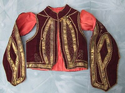 Antique Greek GOLD Metallic Embroidered Jacket ~ vintage Hand Made Traditional