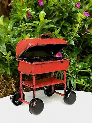 Miniature Dollhouse FAIRY GARDEN ~ Mini Red Metal Rustic Barbecue BBQ Grill NEW