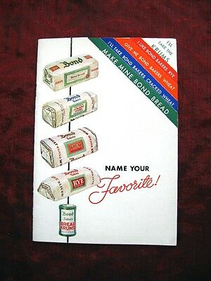 1935 vintage BOND BREAD Recipe Booklet~NAME YOUR FAVORITE