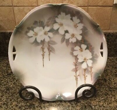 """Vintage R & S Germany 10"""" Plate, White Floral And Gold Mint Condition!"""