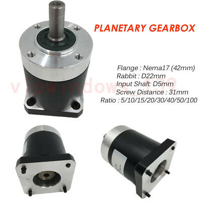 10:1 Planetary Speed Reducer Nema17 Gearbox L41mm Input 5mm for Stepper Motor