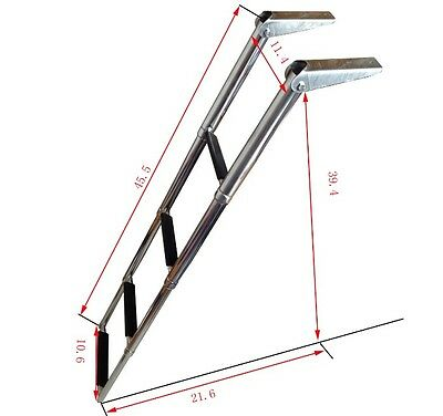 AU Stocking 4-Step Stainless Steel Telescoping Boat Ladder Upper Platform