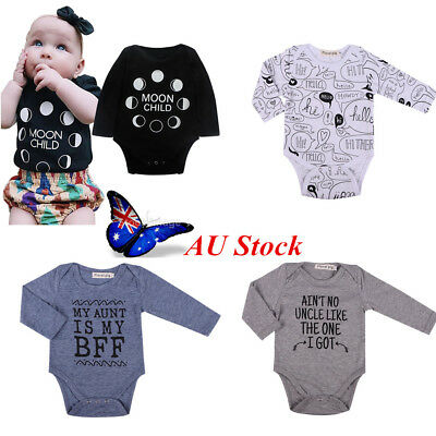 AU Stock Baby Girls Boys Outfits Sets Suit Bodysuit Jumpsuit Playsuit Clothes