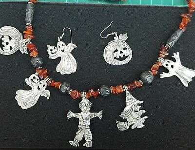 Halloween Witch Ghost Pumpkin ..Charms, Agate & Glass bead Necklace & earrings