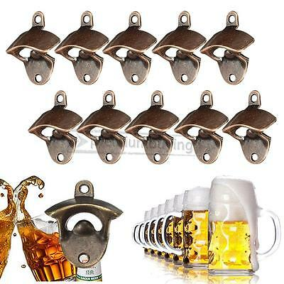 10X Rustic Cast Iron Beer Wine Bottle Opener Red Bronze Wall Mounted Bar