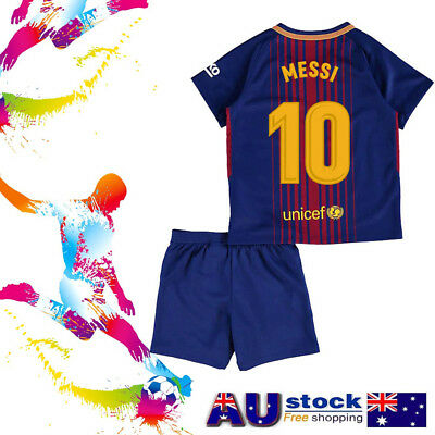 MESSI Youth Football Soccer Kids Jersey Short Sleeve for 3-14Y Boy Sports Suit