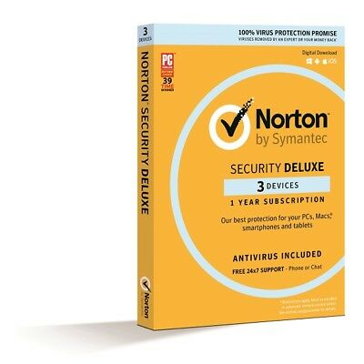 Norton Symantec Security Deluxe 2018 3 device / PC 1 year digital key
