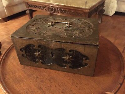 Antique Strong Box Iron Decorated No Key .19th century .