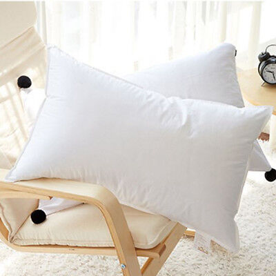 2x Duck Down Feather Pillow 73 x 48cm Cotton Cover Twin Pack Luxury White Hotel