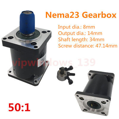 DHL Free Shipping! 50:1 Gearbox Planetary Nema23 L70mm Speed Reducer for Stepper