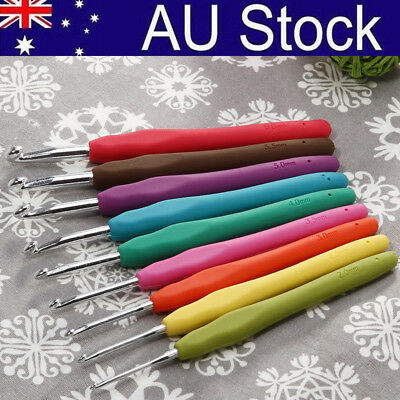 9 in one Soft Plastic Handle Aluminum Crochet Hook Needles Knitting Knit 2-6mm