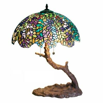 Tiffany Style Tree Base multi Colored Stained Glass Table Lamp