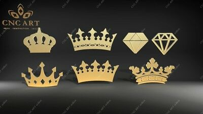 5 Nice crowns design  DXF, DWG and EPS File For CNC Plasma, Router, laser