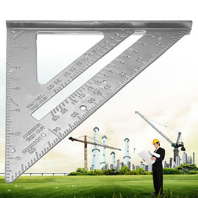 """Aluminum Alloy Tri Square Speed 7"""" Triangle Ruler Protractor Miter Framing BL2"""