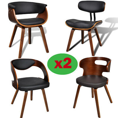 Set of 2 Dining Chairs with Bentwood Backrest Leather Padded Seat Living Room