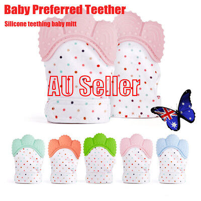 Silicone Baby Mitt Teething Mitten Teething Glove Candy Wrapper Sound Teether BK
