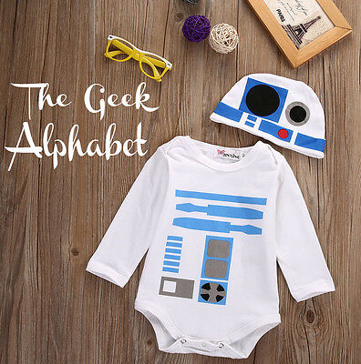 R2D2 Outfit Geek Baby Clothing Outfit Hat and Bodysuit Costume Fast & Free Post