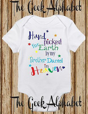 Hand Picked For Earth by My Brother in Heaven Son Nephew Rainbow Baby Clothes