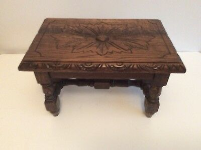 Antique Small Oak Carved Stool