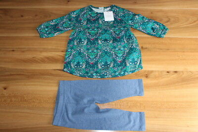 NEXT girls teal BUNNY tunic leggings outfit 6-9 months NEW *I'll combine postage