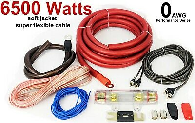 0 Awg Gauge Car Audio Amp Amplifier Wiring Cable Kit 6500 Watts Big Power Bass!