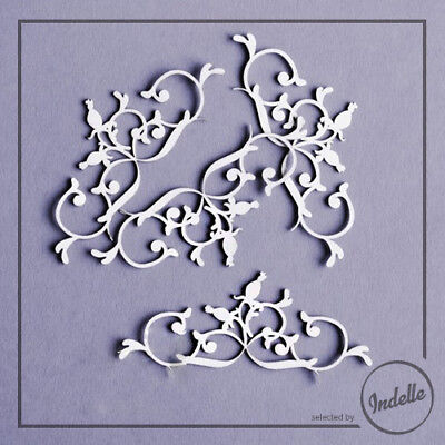 Wild Rose Ornaments Chipboard Shapes Cardmaking Papercraft Scrapbooking 4 Pack