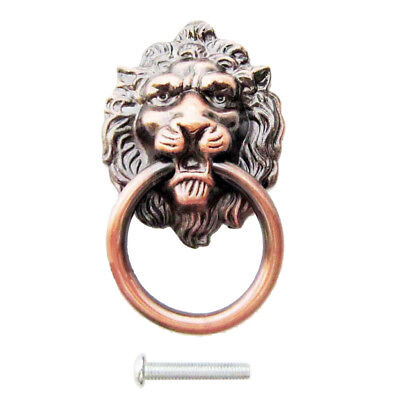 Red Brass Vintage Decorative Lion Head Knob Dresser Drawer Door Pull Handles