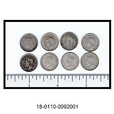 Lot of Eight Great Britain Silver Three Pence (0.500 Silver)