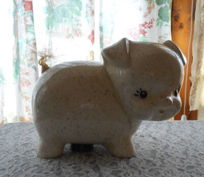Cute Dog / Pig  Piggy Bank Ceramic Black And Brown Specks With Barn Twine Tail