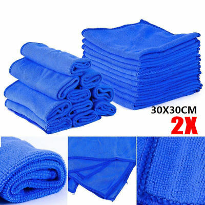 2PCS 30cm Microfibre Cleaning Blue Car Detailing Soft Cloths Wash Towel Duster